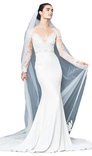 - Passat Ivory 1Tier Walking Length gorgeous hand beaded Alencon lace ivory veil rhinestone edge LYON