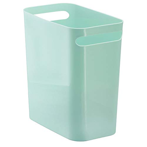 Kids Wastebaskets (mDesign Slim Plastic Rectangular Large Trash Can Wastebasket, Garbage Container Bin, Handles for Bathroom, Kitchen, Office, Dorm, Kids Room - 12