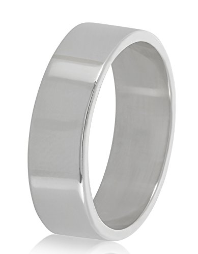 925 Sterling Silver Italian Crafted 7mm Flat Edged Thick Eternity Wedding Band, Size 6 + Cleaning Cloth by The Bling Factory