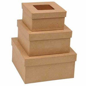 Handcrafted Tin - Factory Direct Craft Handcrafted Paper Mache Square Boxes with Rusty Tin Insert Lids- 3 Total Boxes (1 of Each Size)