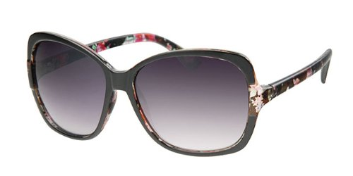 Eyewear World Ladies Oversized Flower Print Frame Sunglasses, With Free Yellow Neck Cord