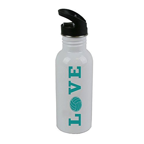 CustomGiftsNow LOVE VOLLEYBALL White Stainless Steel Finish 20 Ounce 600ML Sport Water Bottle with Flip Top Straw Top + Plastic Straw (Teal)