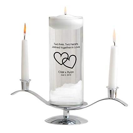Personalized Floating Wedding Unity Candle Set Includes Stand Personalized Wedding Candle Monogrammed Floating Wedding Unity Candle Two Lives