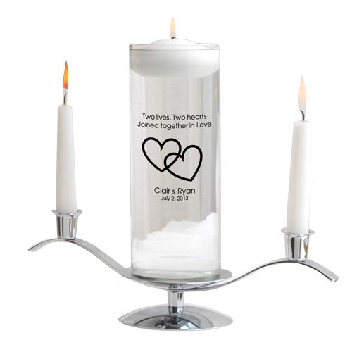 Personalized Floating Wedding Unity Candle Set - Includes Stand - Personalized Wedding Candle - Monogrammed Floating Wedding Unity Candle - Two Lives Two Hearts