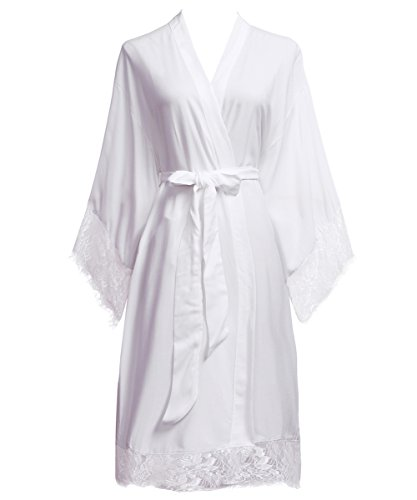 PROGULOVER PROGULOVER's Set Of 8 Cotton Wedding Kimono Robe For Bride and Bridesmaid Eyelash Edge Lace With Gold Glitter by PROGULOVER (Image #5)