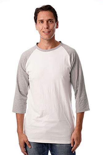 Raglan T-shirt Tone (At The Buzzer Men's Baseball Raglan Sleeve Solid Shirt 15970-WHTGRY-3XL White Grey)