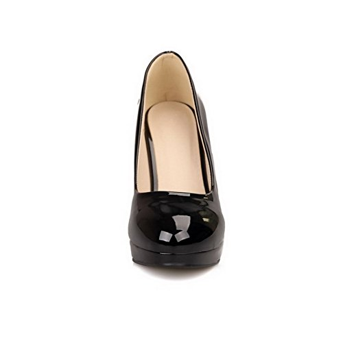 Round Shoes Black Solid Heels Closed Women's High Toe WeiPoot 35 Pumps 587zqY