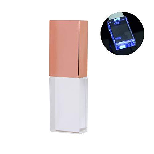 Rose Gold Crystal 16GB USB 2.0 Flash Drive LED Light Glass Pen Drive Thumb Drive Memory Stick Pendrive USB Stick