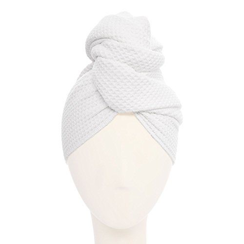 Aquis - Original Hair Towel (Waffle), Ultra Absorbent & Fast Drying Microfiber Towel For Thicker Hair, White (19 x 39 Inches)
