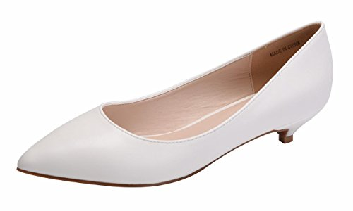 Jiu du Formal Shoes for Women Cute Slip On Pointed Toe Low Kitten Heel Dress Pumps Shoes White Soft pu Size US7.5 EU39