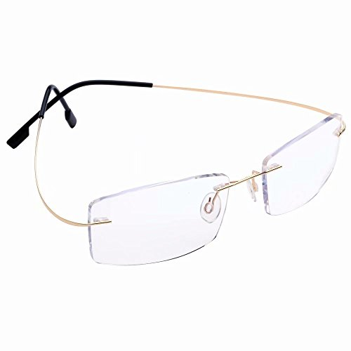 Titanium Rimless Anti-Blu-ray Computer Readers +1.25 Mens Womens Gold Frame Reading Glasses Spectacles w ()
