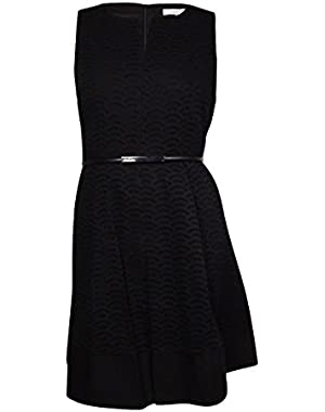 Calvin Klein Women's Belted Split-Neck Eyelet Cotton Dress