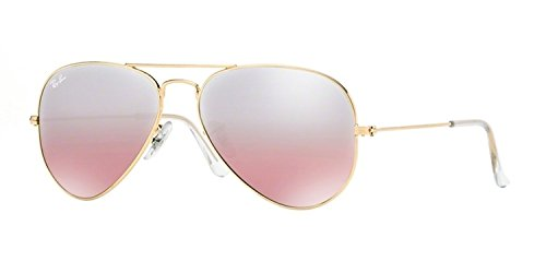 RAY-BAN RB 3025 AVIATOR SUNGLASSES (55 mm, 001/3E GOLD/GRADIENT - Ray Ban Pink Aviator Gold And