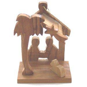 (Holy Land Market Olive Wood Nativity Ornament)