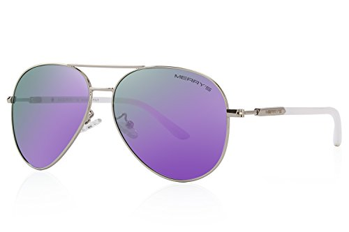MERRY'S Men's Polarized Driving Sunglasses For Men Women Mirror Sun glasses UV400 S8058 (Purple, 62) Purple Haze Framed