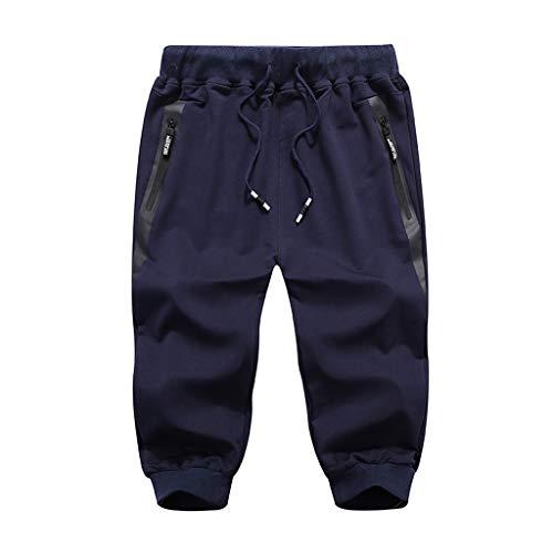 (Tomppy Men's Casual Shorts Summer Sports Workout Short Pants Elastic Waist Beach Shorts with Zipper Pockets Dark Blue)