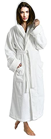 Skylinewears Women's 100% Terry Cotton Bathrobe Toweling Hooded Robe White XXL - White Terry Hooded Cover Up