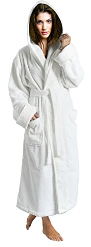 SKYLINEWEARS Women's 100% Terry Cotton Bathrobe Toweling Hooded Robe White M