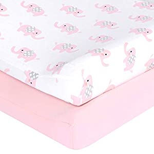 "TILLYOU Jersey Cotton Elephant Changing Pad Covers- Ultra Soft Cozy Hypoallergenic Cradle Sheet Unisex Change Table Sheets for Baby Girls Boys – Fit 32″/34"" x 16″ Pad – 2 Pack, Elephant & Pink"