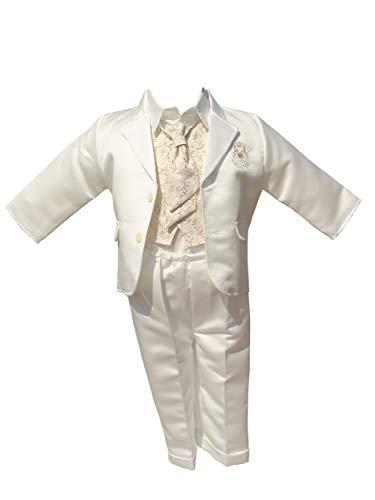 LULINA Abito da Battesimo Elegante, Vestito da Cerimonia Color Panna Raso. 1