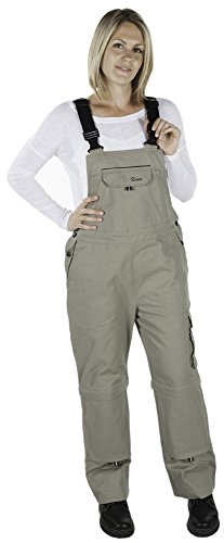 Rosies Work Wear Overalls for Women| Work & Gardening Cotton Bib Overalls with Knee Pads & Multiple Tool Pockets (Small, Tan)