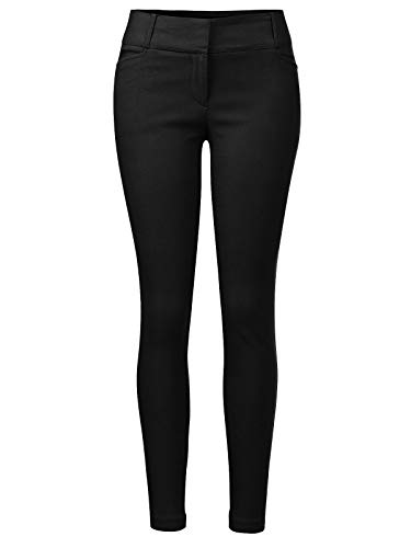 (Design by Olivia Women's Classic Slim Skinny Solid Casual High Waisted Business Office Pants Black S)