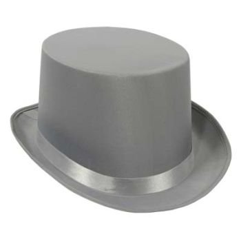 Satin Sleek Top Hat (gray) Party Accessory  (1 count)