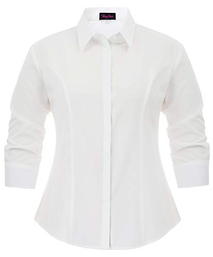 Hanna Nikole Women Plus Size Roll Up Sleeve Casual Blouse Shirt with Button 18W White
