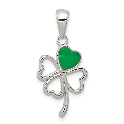 Mia Diamonds 925 Sterling Silver Green Enameled Four Leaf Clover Pendant (24mm x 12mm)