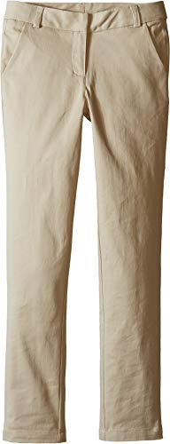 Nautica Little Girls' Uniform Straight Leg Stretch Twill Pants, Khaki, 4 by Nautica