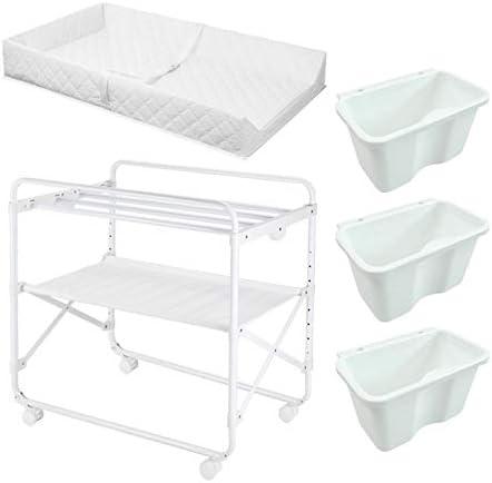 おむつ交換台 小さなスペースのための折り畳み式ベビー用おむつ交換台、収納ボックス付きおむつステーション、幼児用保育園オーガナイザー、ホワイト
