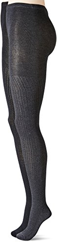 Anne Klein Women's Bold Bias Textured Knitted Tights, Black/Charcoal Heather, Medium/Large (Pack of 2)