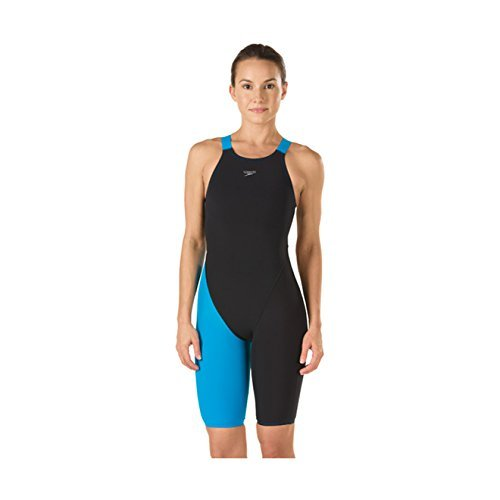 Womens Speedo Swimming Costumes (Speedo LZR Racer Pro Recordbreaker Kneeskin With Comfort Strap Female Black/Blue 25)