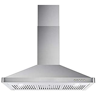 Cosmo 63190 36 in. Wall Mount Range Hood with Ductless Convertible Duct, Kitchen Chimney-Style Over Stove Vent, 3 Speed Exhaust Fan, Permanent Filters, LED Lights in Stainless Steel