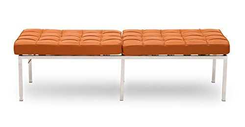Kardiel Florence Knoll Style Bench 3 Seater, Caramel Premium Leather