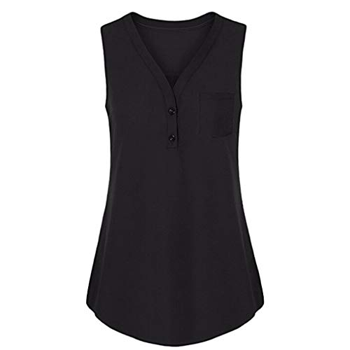 - Sunhusing Women's Solid Color Sleeveless Vest Summer Loose Button Buckle V-Neck Tank Top Black
