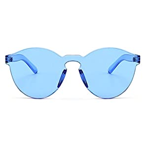 Armear Oversized One Piece Rimless Tinted Sunglasses Clear Colored Lenses (Blue, 58)