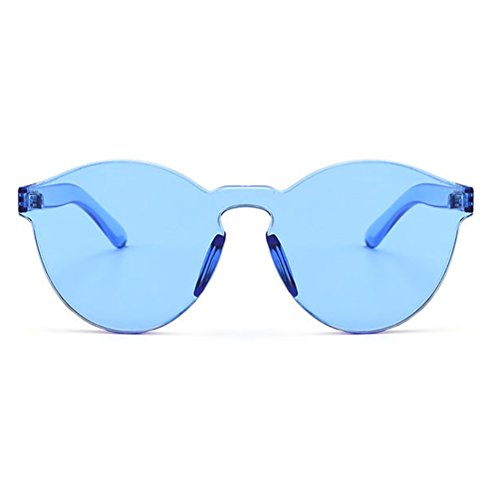 Armear Oversized One Piece Rimless Tinted Sunglasses Clear Colored Lenses (Blue, - Colored Glasses Lens