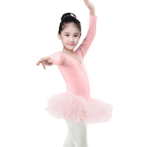 iumei Dancewear For Baby Girls Solid Long Sleeve Tulle Leotards Romper Tutu Dress Skirts (24 Months, Pink)