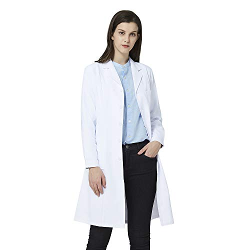 ANNISOUL White Lab Coat for Women, Professional Doctor Uniform, Casual Knot-Button Lab Coat with 3 Pockets (X-Large)