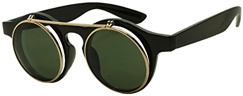 SunglassUP - Round 43mm Cyber Steampunk Flip Up Clear Lens Glasses / Sunglasses (Glossy Black / - Sunglasses 43
