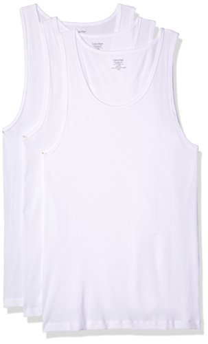 Calvin Klein Men's 3 Pack Basic Tank Top, White, Medium