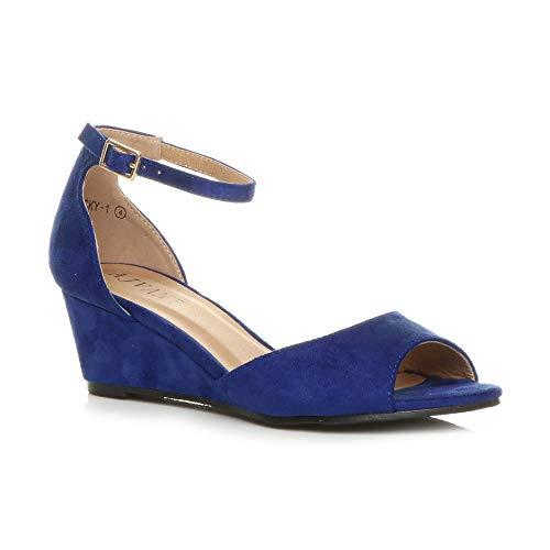 Mujer Suede Sandalias Ajvani De Vestir Cobalt Blue Para Fw7Aq4xAIB