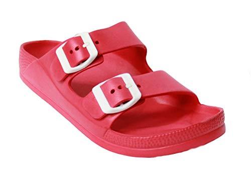 H2K Womens Comfort Slides Adjustable Double Buckle EVA Flat Slide Sandals (Red, 11)