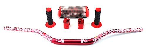 STONEMEN Motorcycle 28mm Fat Bars 1 1/8 Oversize Handlebars + Grips+ Bar Riser+bar Pad For Honda Yamaha Kawasaki KTM Suzuki Dirt Bike Off Road Motorcross (Red) ()