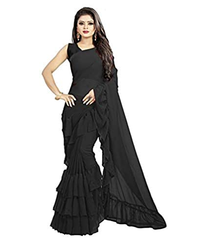 99b144c8 AP's Collection Black Georgette with four side Ruffle lace Saree ...