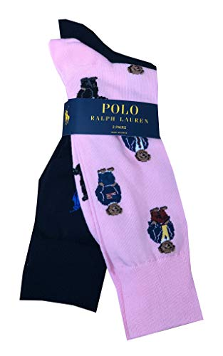Polo Ralph Lauren Mens Teddy Bear/Pony Logo 2 Pack Socks (One size, Pink bears/navy) ()