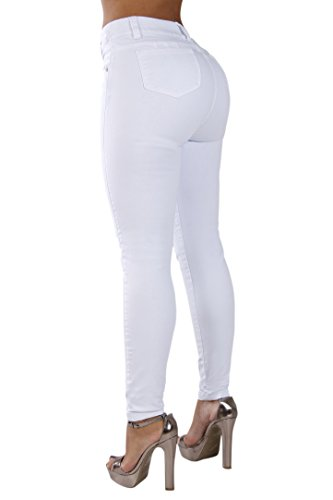 White High Rise (Curvify Classic High Rise Skinny Jeans| All White High Waist Butt Lifting Pants (768, White, 7))