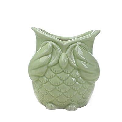 Owl Planter Pot, Set of 3 Modern Light Green owl Ceramic Succulent Planter Pots/Mini Flower Plant Containers (Light Green owl) : Garden & Outdoor