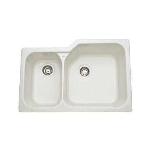 Rohl 6339-68 33-Inch Allia Double Basin Undermount Fireclay Kitchen Sink with Large Right Basin, (Undermount Double Bowl Fireclay Sink)
